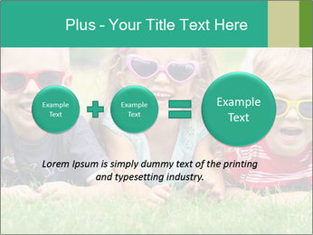 Three baby in sunglasses posing on the grass. PowerPoint Template - Slide 75