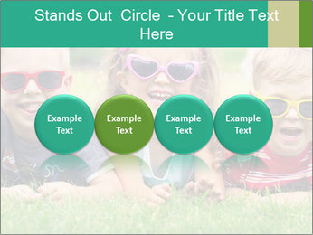 Three baby in sunglasses posing on the grass. PowerPoint Template - Slide 76