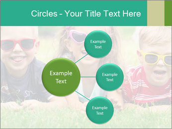 Three baby in sunglasses posing on the grass. PowerPoint Template - Slide 79