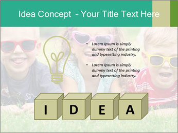Three baby in sunglasses posing on the grass. PowerPoint Template - Slide 80
