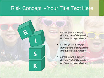 Three baby in sunglasses posing on the grass. PowerPoint Template - Slide 81