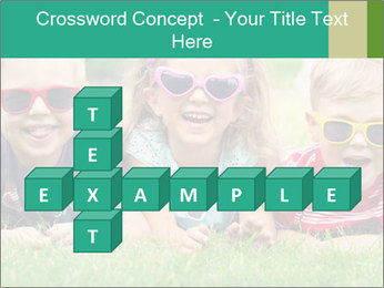 Three baby in sunglasses posing on the grass. PowerPoint Template - Slide 82
