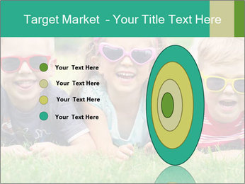 Three baby in sunglasses posing on the grass. PowerPoint Template - Slide 84