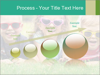 Three baby in sunglasses posing on the grass. PowerPoint Template - Slide 87