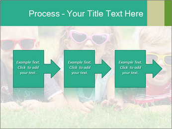 Three baby in sunglasses posing on the grass. PowerPoint Templates - Slide 88