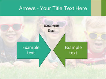 Three baby in sunglasses posing on the grass. PowerPoint Template - Slide 90