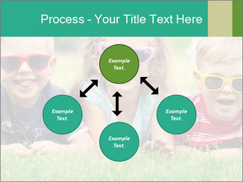 Three baby in sunglasses posing on the grass. PowerPoint Template - Slide 91
