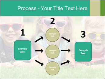 Three baby in sunglasses posing on the grass. PowerPoint Template - Slide 92