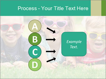 Three baby in sunglasses posing on the grass. PowerPoint Template - Slide 94