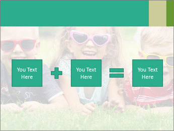 Three baby in sunglasses posing on the grass. PowerPoint Template - Slide 95