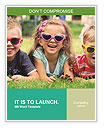 Three baby in sunglasses posing on the grass. Word Template
