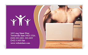 A guy with a beautiful figure poses in front of a laptop. Business Card Template