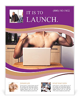 A guy with a beautiful figure poses in front of a laptop. Flyer Template