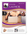 A guy with a beautiful figure poses in front of a laptop. Flyer Templates