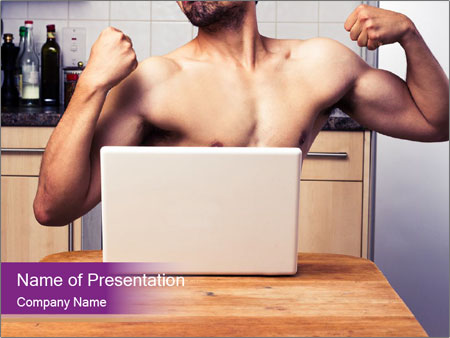 A guy with a beautiful figure poses in front of a laptop. PowerPoint Template