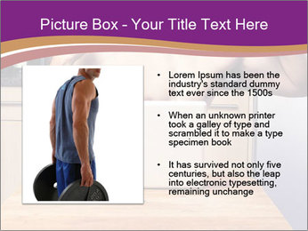 A guy with a beautiful figure poses in front of a laptop. PowerPoint Template - Slide 13