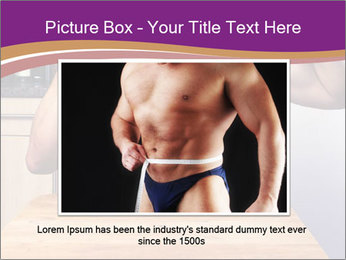 A guy with a beautiful figure poses in front of a laptop. PowerPoint Template - Slide 15