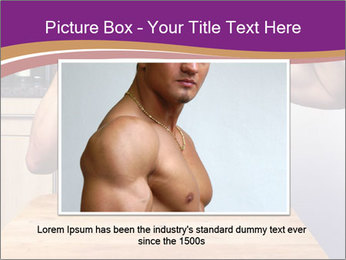 A guy with a beautiful figure poses in front of a laptop. PowerPoint Template - Slide 16
