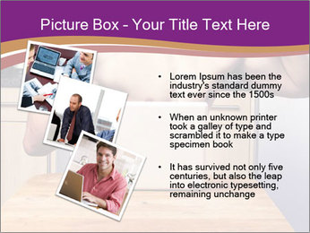 A guy with a beautiful figure poses in front of a laptop. PowerPoint Template - Slide 17