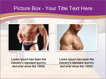 A guy with a beautiful figure poses in front of a laptop. PowerPoint Template - Slide 18