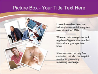 A guy with a beautiful figure poses in front of a laptop. PowerPoint Template - Slide 23