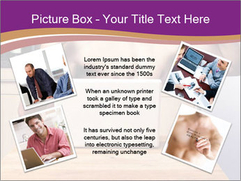 A guy with a beautiful figure poses in front of a laptop. PowerPoint Template - Slide 24