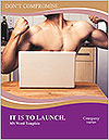 A guy with a beautiful figure poses in front of a laptop. Word Template - Page 1