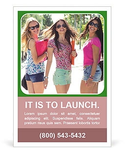 Three girls walk down the street on a sunny day. Ad Templates
