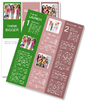 Three girls walk down the street on a sunny day. Newsletter Template