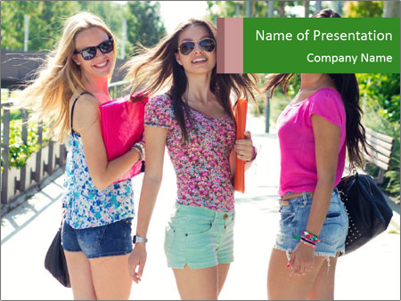 Three girls walk down the street on a sunny day. PowerPoint Template