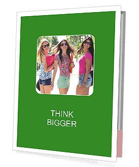 Three girls walk down the street on a sunny day. Presentation Folder