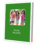 Three girls walk down the street on a sunny day. Presentation Folder