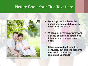 Three girls walk down the street on a sunny day. PowerPoint Template - Slide 13