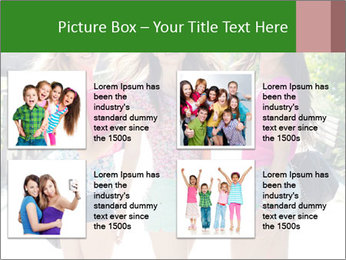Three girls walk down the street on a sunny day. PowerPoint Template - Slide 14