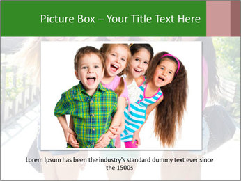 Three girls walk down the street on a sunny day. PowerPoint Template - Slide 15
