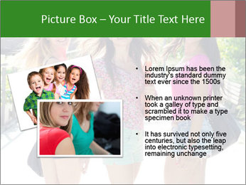 Three girls walk down the street on a sunny day. PowerPoint Template - Slide 20