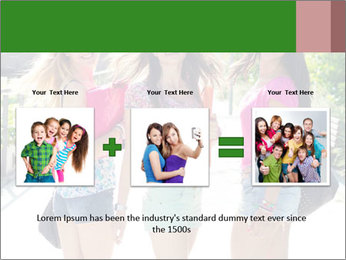 Three girls walk down the street on a sunny day. PowerPoint Template - Slide 22