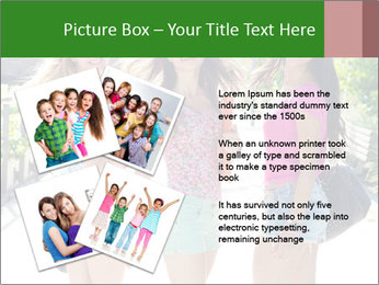 Three girls walk down the street on a sunny day. PowerPoint Template - Slide 23
