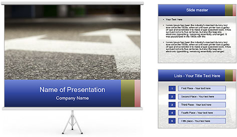 Road double arrow direction. PowerPoint Template