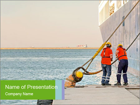 The sailors ship moored at the quay. PowerPoint Templates