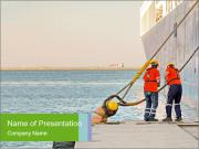The sailors ship moored at the quay. PowerPoint Template