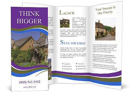 Large house on a background sky. Brochure Template