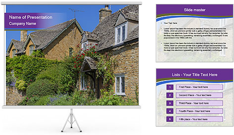 Large house on a background sky. PowerPoint Template