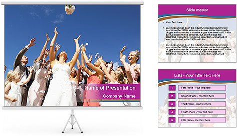 A bride catch the bridal bouquet PowerPoint Template