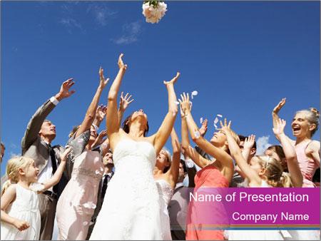 A bride catch the bridal bouquet PowerPoint Templates