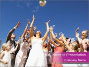 A bride catch the bridal bouquet PowerPoint Templates