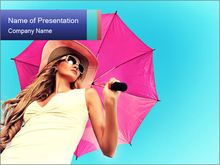 Woman And Pink Umbrella PowerPoint Template