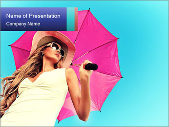 Woman And Pink Umbrella PowerPoint Template - Slide 1