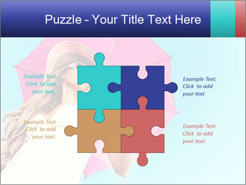 Woman And Pink Umbrella PowerPoint Templates - Slide 43