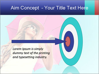 Woman And Pink Umbrella PowerPoint Templates - Slide 83